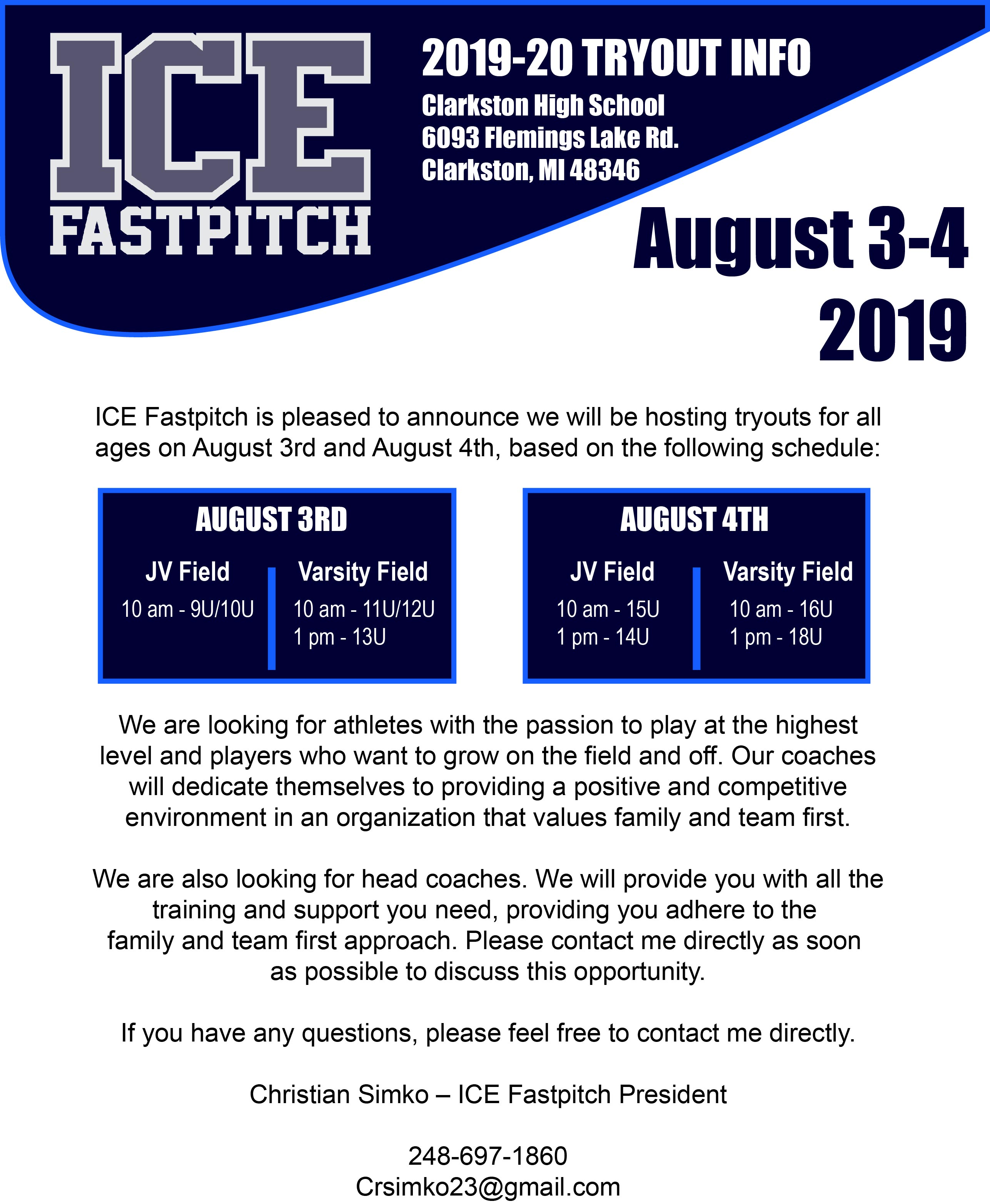 ICE Fastpitch - Tryouts